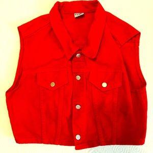 Vintage Encore Red Denim Vest